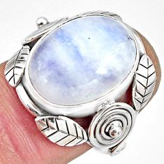 10.64cts natural rainbow moonstone 925 silver solitaire ring size 7 r13817