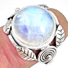 925 silver 12.31cts natural rainbow moonstone solitaire ring size 6.5 r13818