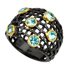 3.63cts black rhodium natural blue topaz 925 silver 14k gold ring size 9 r13905