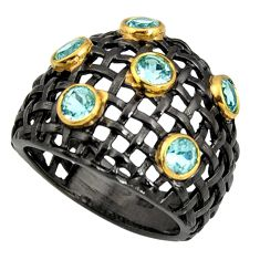 3.62cts black rhodium natural blue topaz 925 silver 14k gold ring size 8 r13909