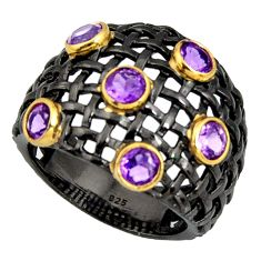 925 silver 3.74cts rhodium natural purple amethyst 14k gold ring size 9 r13911
