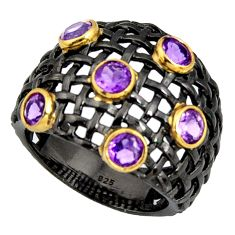 3.51cts rhodium natural purple amethyst 925 silver 14k gold ring size 9 r13912