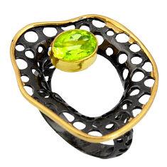 925 silver 2.41cts rhodium natural green peridot 14k gold ring size 8 r13928