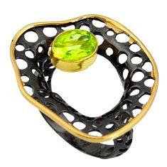 2.11cts black rhodium natural green peridot silver 14k gold ring size 8 r13930