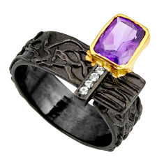 2.41cts rhodium natural amethyst silver 14k gold adjustable ring size 9.5 r13938