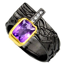 2.27cts rhodium natural amethyst silver 14k gold adjustable ring size 8.5 r13941