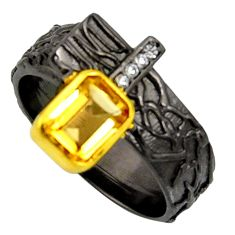 2.34cts rhodium natural citrine silver 14k gold adjustable ring size 9 r13951
