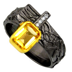 2.26cts rhodium natural citrine silver 14k gold adjustable ring size 9 r13953