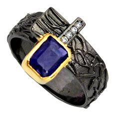2.34cts rhodium natural iolite silver 14k gold adjustable ring size 9.5 r13956