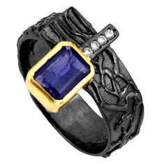 2.33cts rhodium natural iolite silver 14k gold adjustable ring size 9.5 r13957