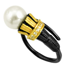 3.98cts rhodium natural pearl 925 silver 14k gold adjustable ring size 7 r13988
