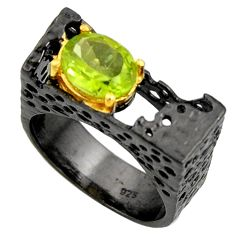 3.08cts black rhodium natural green peridot silver 14k gold ring size 9 r14012