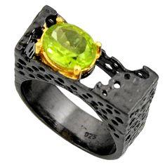 925 silver 2.99cts black rhodium natural green peridot gold ring size 8 r14013