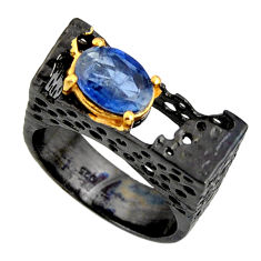 3.08cts black rhodium natural blue kyanite silver 14k gold ring size 8 r14015