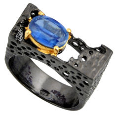 925 silver 2.81cts black rhodium natural blue kyanite gold ring size 7.5 r14018