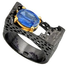 2.99cts black rhodium natural blue kyanite silver 14k gold ring size 9 r14019