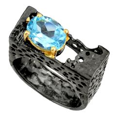 3.21cts black rhodium natural blue topaz silver 14k gold ring size 8 r14020