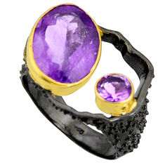 925 silver 7.22cts rhodium natural purple amethyst 14k gold ring size 7 r14024
