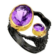 7.51cts rhodium natural purple amethyst 925 silver 14k gold ring size 8 r14032