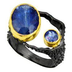 7.74cts black rhodium natural blue kyanite silver 14k gold ring size 9 r14040