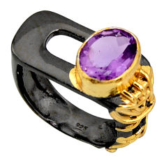 4.06cts rhodium natural purple amethyst 925 silver 14k gold ring size 6.5 r14063