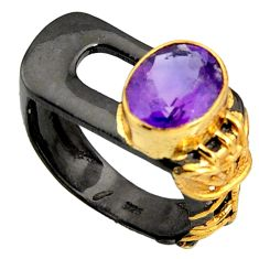 4.31cts rhodium natural purple amethyst 925 silver 14k gold ring size 7.5 r14065
