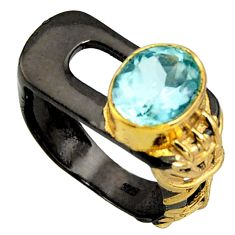 4.35cts black rhodium natural blue topaz 925 silver gold ring size 7.5 r14070