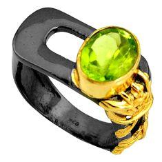 925 silver 4.32cts rhodium natural green peridot 14k gold ring size 7 r14074