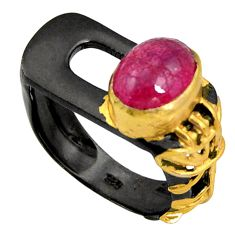 925 silver 4.13cts black rhodium natural red ruby 14k gold ring size 7 r14076