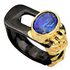 4.35cts black rhodium natural blue kyanite silver 14k gold ring size 7 r14077