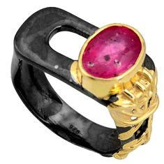 925 silver 4.13cts black rhodium natural red ruby 14k gold ring size 9 r14080