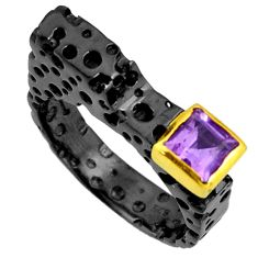 1.15cts rhodium natural purple amethyst 925 silver 14k gold ring size 7 r14085
