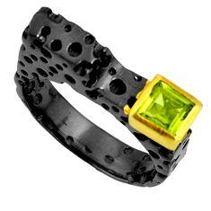 1.15cts black rhodium natural green peridot 925 silver gold ring size 9 r14092