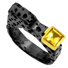 1.12cts black rhodium natural yellow citrine silver 14k gold ring size 9 r14096