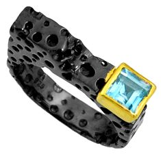 1.09cts black rhodium natural blue topaz 925 silver 14k gold ring size 8 r14098