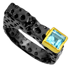 925 silver 1.12cts black rhodium natural blue topaz gold ring size 7.5 r14099