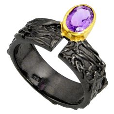 1.58cts rhodium natural purple amethyst 925 silver 14k gold ring size 8 r14102