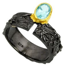 1.58cts black rhodium natural blue topaz 925 silver 14k gold ring size 8 r14109