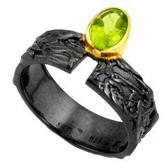 1.71cts black rhodium natural green peridot 925 silver gold ring size 8 r14114