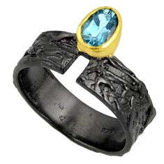 1.58cts black rhodium natural blue topaz 925 silver 14k gold ring size 8 r14119