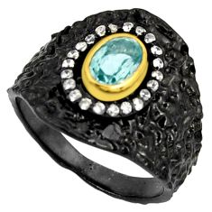 2.24cts black rhodium natural blue topaz silver 14k gold ring size 8.5 r14126