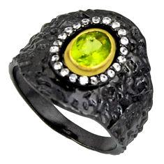 925 silver 2.17cts black rhodium natural green peridot gold ring size 9 r14132