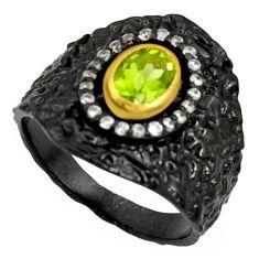 925 silver 2.07cts black rhodium natural green peridot gold ring size 7 r14137