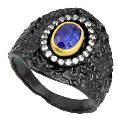 2.18cts rhodium natural blue kyanite 925 silver 14k gold ring size 8.5 r14140