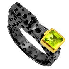1.12cts rhodium natural green peridot 925 silver 14k gold ring size 8 r14143