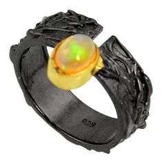 1.58cts rhodium natural ethiopian opal 925 silver 14k gold ring size 7 r14145