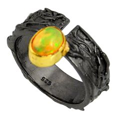 1.58cts rhodium natural ethiopian opal 925 silver 14k gold ring size 7 r14146
