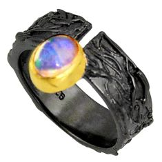 1.71cts rhodium natural ethiopian opal 925 silver 14k gold ring size 7 r14149