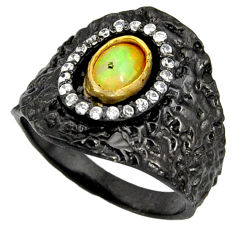 2.07cts rhodium natural ethiopian opal 925 silver 14k gold ring size 8 r14150