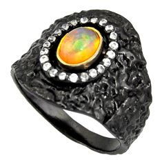 2.07cts rhodium natural ethiopian opal 925 silver 14k gold ring size 9 r14151